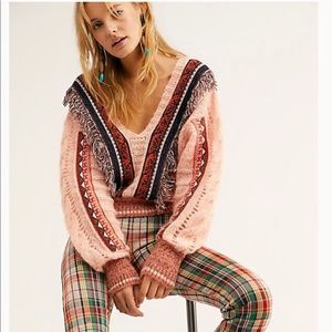 Free People Passion Fruit Cropped V Neck Sweater